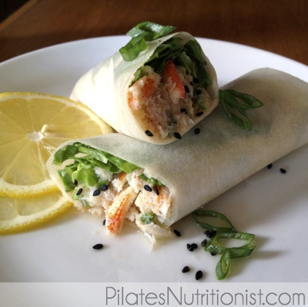 sesame-ginger crab wraps in coconut wrappers
