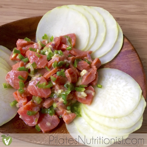 Paleo Wild Salmon Ceviche with Kohlrabi Chips