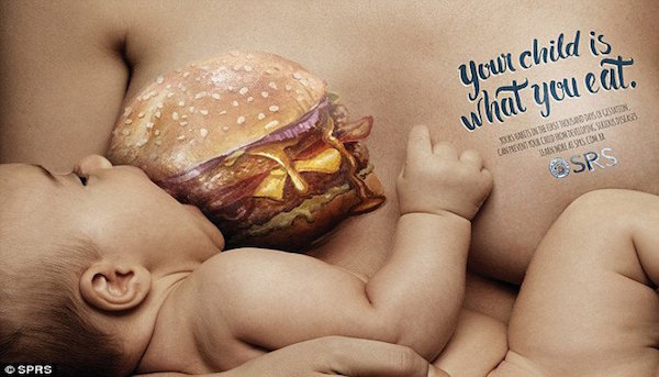 cheeseburger breastfeeding ads