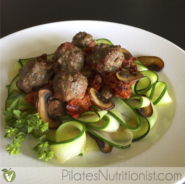 Grass-fed Beef Meatballs and Low Carb Zucchini Noodles