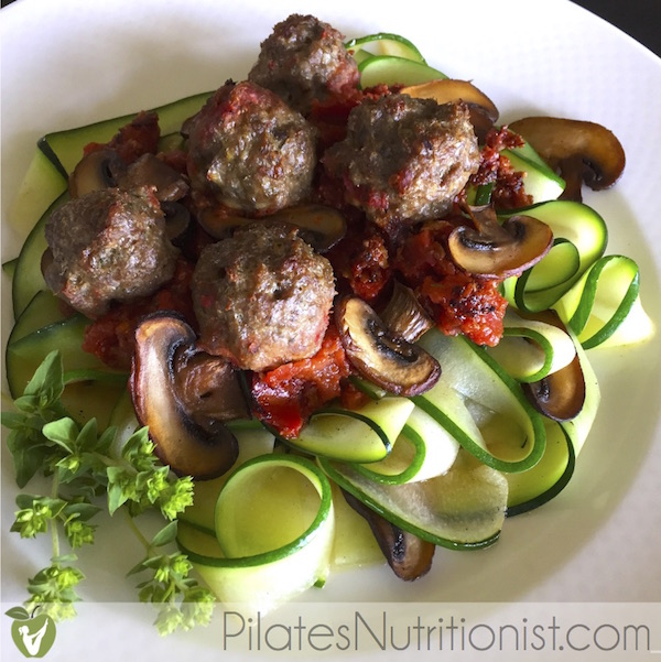 Grass-fed Beef Meatballs and Zucchini Pasta