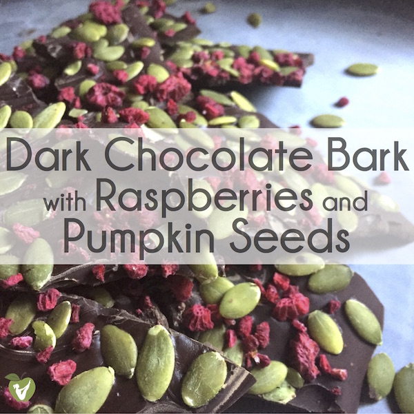 Dark Chocolate Bark with Raspberries and Pumpkin Seeds